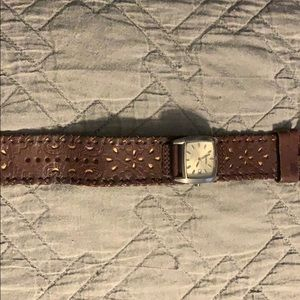 Brown leather fossil watch needs battery